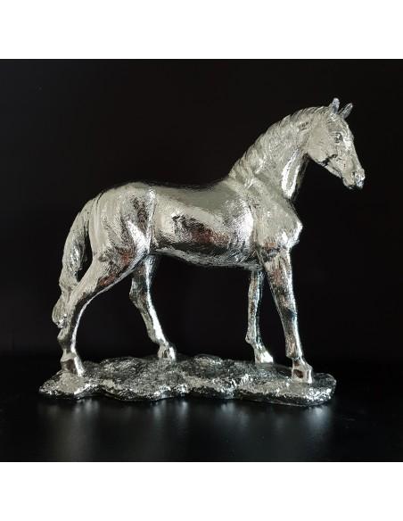 Statue design Cheval résine argentée H20 cm