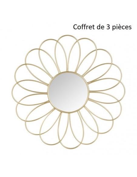 Ensemble de 3 miroirs Fleur doré en métal D.25,5 cm