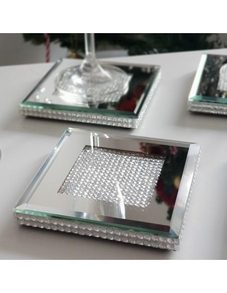 Ensemble 4 dessous de verre Luxe verre et strass