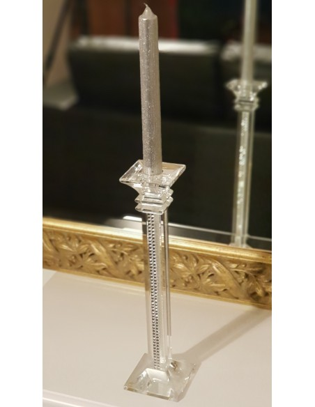 Grand bougeoir Luxe verre et strass H30 cm