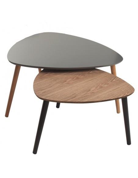 Grande table basse nomade 80x80xH40 design scandinave gris