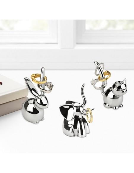 Ensemble de 3 porte bijoux bague design animaux chromé