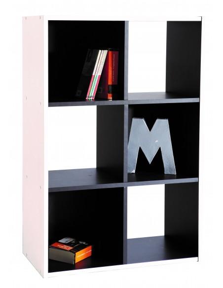 Bibliothèque étagères 6 niches noir et blanc