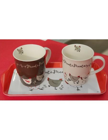 Ensemble à déjeuner Poule : 2 mugs + 1 plateau