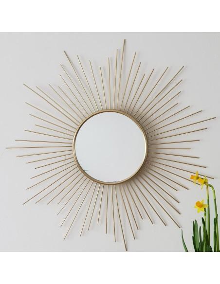 Miroir Soleil, miroir Soleil doré en métal D.49,5 cm