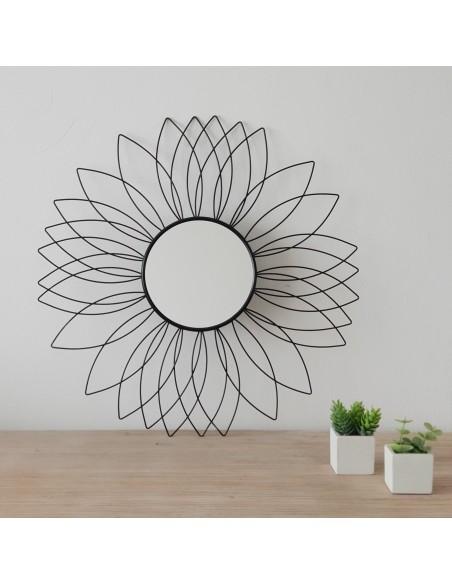 Miroir mural Fleur noir en métal D.49,5 cm