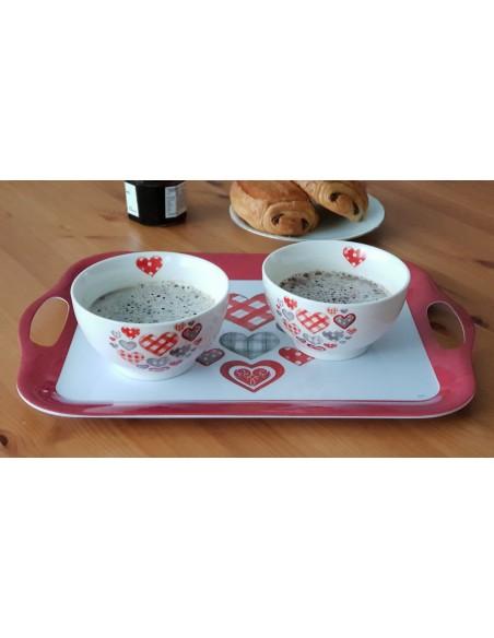 Ensemble petit déjeuner Coeur 3 pièces, Livraison gratuite