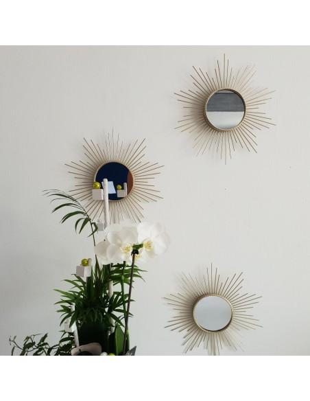 Ensemble de 3 miroirs  rond Soleil doré en métal D.25cm,  Livraison gratuite