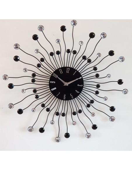 Horloge murale Céleste Strass noir et transparent D.50 cm