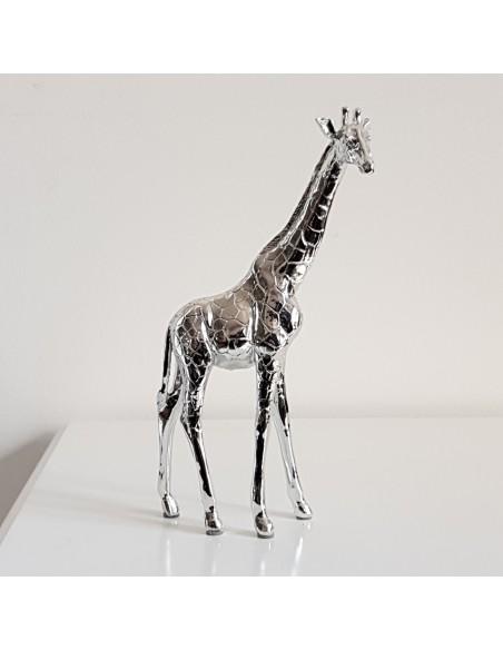 Statue Girafe déco design en résine argentée H21,5 cm