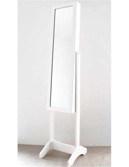 Miroir psyché porte bijoux H145,5 cm - en bois - coloris blanc - LIVRAISON  INCLUSE EN FRANCE