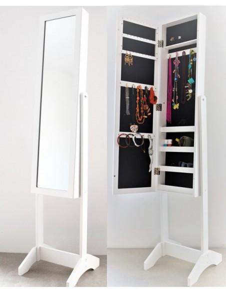 Miroir psyché porte bijoux blanc-Armoire à bijoux sur pied-rangement bijoux  blanc -Livraison en France incluse