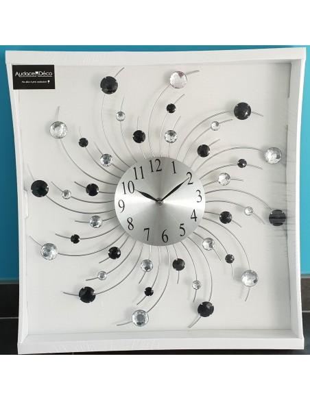 Grande horloge murale design Soleil en métal et Strass transparent et noir D.48,5 cm