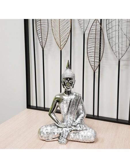 Statue design Bouddha résine argentée brillante H30cm