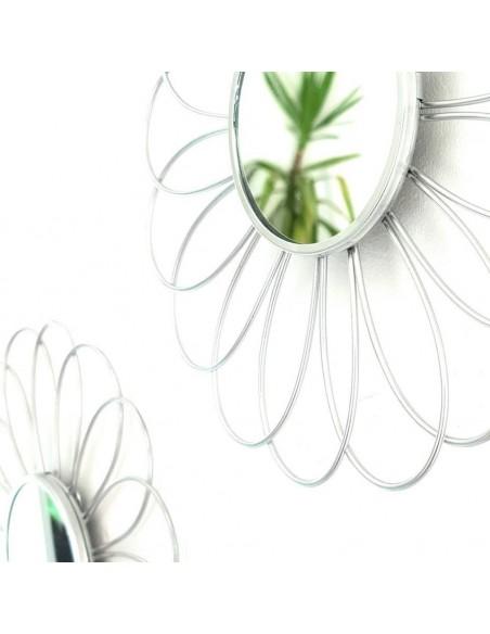 Ensemble de 3 miroirs Fleur argent en métal D.25,5cm