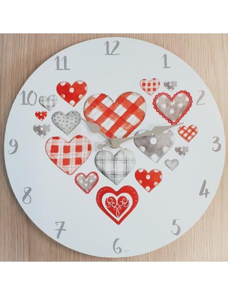 Horloge murale Coeur dia 30cm en bois coloris blanc