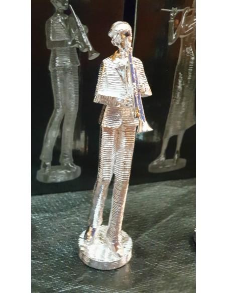 Statue musicien Trompette résine argentée H25cm