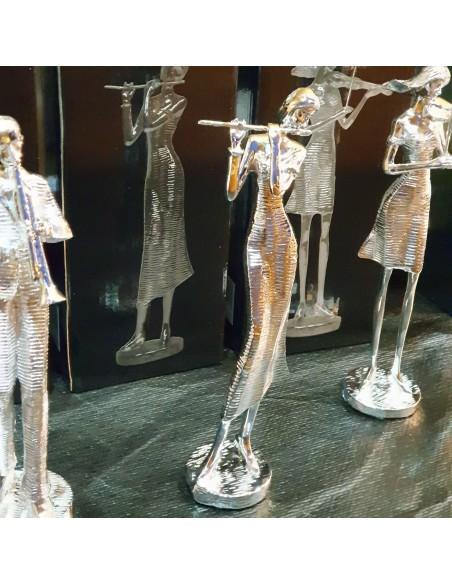 Statue musicienne Flûte résine argentée H25cm