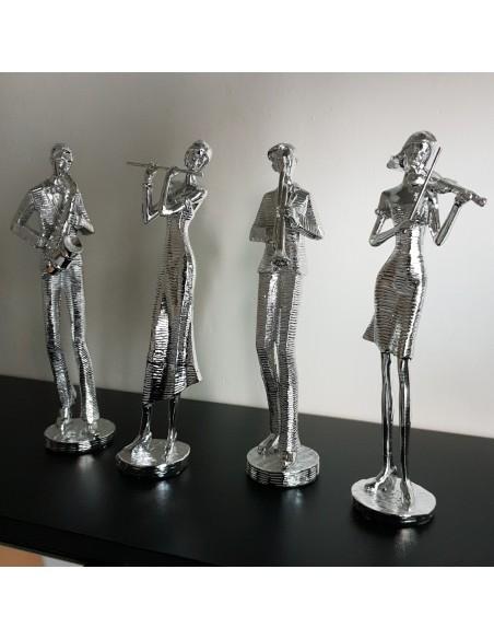 Statue musicienne Violon résine argentée H25cm