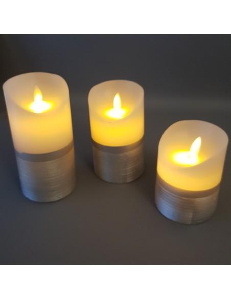 3 bougies LED avec effet flammes vacillantes - coloris Argent