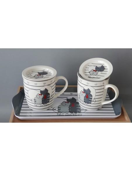 Ensemble Tisanière Chats 3 pièces : 2 mugs Tisanière + 1 plateau