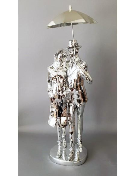 Statue Couple Parapluie H 45.5 cm