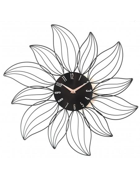Horloge murale design Fleur en métal noir D.49 cm