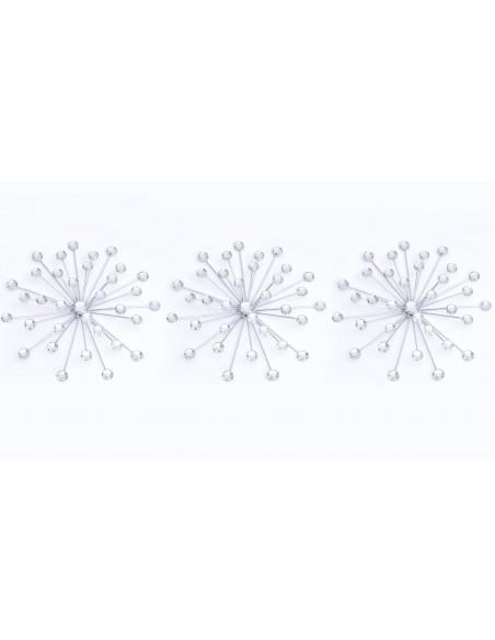 Ensemble de 3 décors muraux Strass en métal et acrylique D.25 cm
