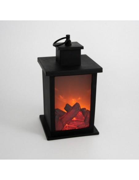 Cheminée décorative effet bûche lumineuse H23 cm, fausse cheminée