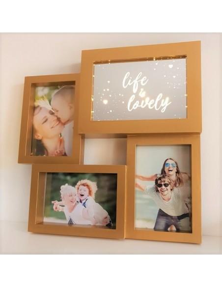 Cadre pêle mêle photos original avec miroir Led - coloris doré
