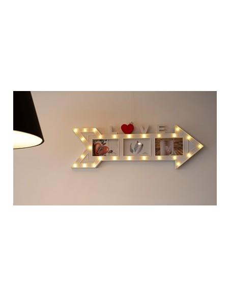 Cadre photo pêle mêle LED 70 cm - 3 photos 10x15 - Flèche LOVE- coloris blanc et rouge