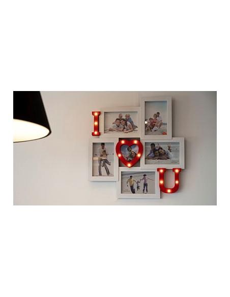 Cadre photo pêle mêle I LOVE YOU Led H43cm - coloris blanc et rouge