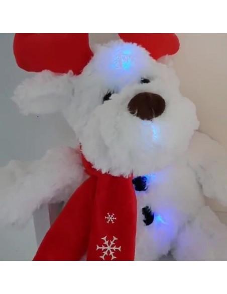 Peluche Renne de Noël H25cm - Sonore et Lumineux - coloris rouge et blanc