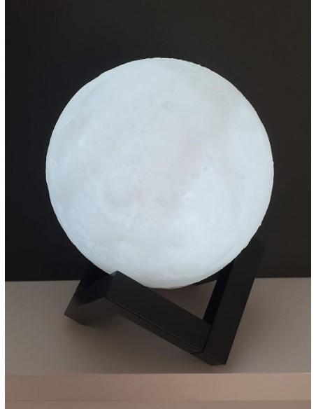 Lampe Lune 3D - D12 cm - Lampe tactile - Veilleuse sensible avec support